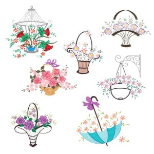 Decorative Florals Embroidery Design Pack