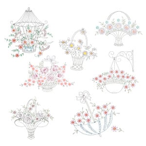 Decorative Florals in Contour Embroidery Design Pack