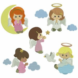 Baby Angel Embroidery Design Pack