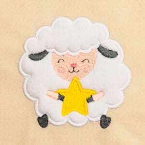 Cute Sheep with Star (Applique) Embroidery Design