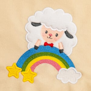 Cute Sheep on Rainbow (Applique) Embroidery Design