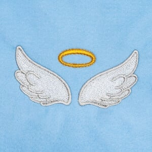 Angel Wings with Halo Embroidery Design