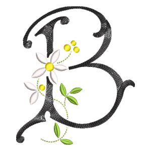 Scribble Font Letter B Embroidery Design