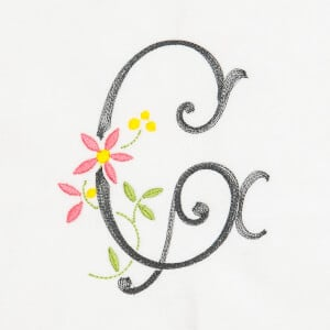 Scribble Font Letter G Embroidery Design