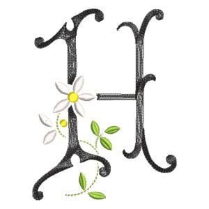 Scribble Font Letter H Embroidery Design