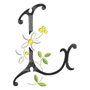 Scribble Font Letter L Embroidery Design