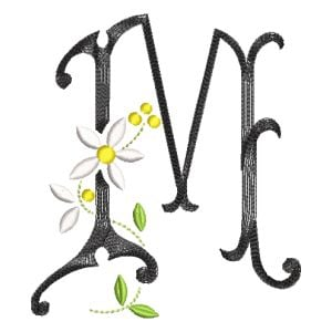 Scribble Font Letter M Embroidery Design