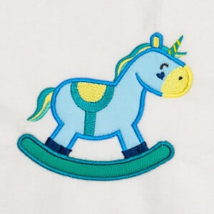 Rocking Unicorn (Applique) Embroidery Design