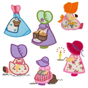 Sunbonnet Dolls in Applique Embroidery Design Pack