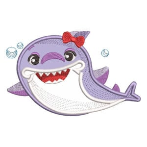 Mommy Shark (Applique) Embroidery Design