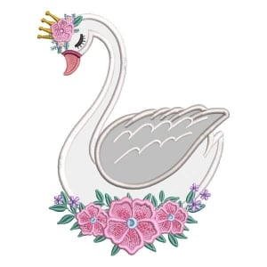 Swan with Flowers (Applique) Embroidery Design