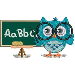 Teacher Owl (Applique) Embroidery Design
