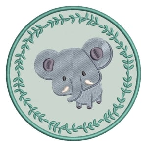 Elephant in Wreath (Applique) Embroidery Design