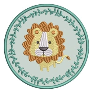 Lion in Wreath (Applique) Embroidery Design