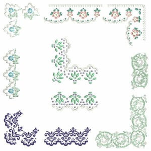 Floral Corners and Borders Embroidery Design Pack