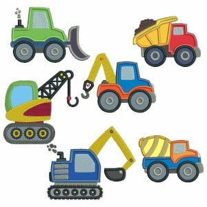 Toy Vehicles in Aplique Embroidery Design Pack