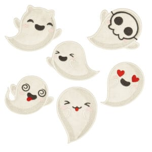 Ghosts(Applique) Embroidery Design Pack