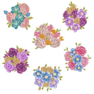 Flower Arrangements Embroidery Design Pack