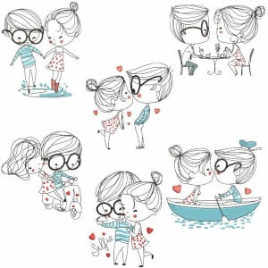 Cute Couple Embroidery Design Pack