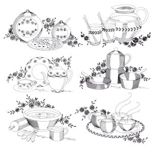 Rippled Contour Utensils Embroidery Design Pack