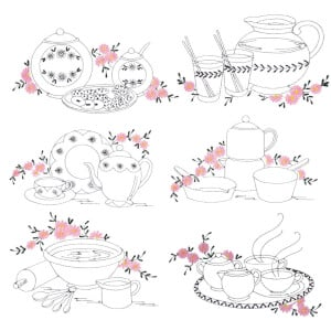 Contoured Utensils Embroidery Design Pack