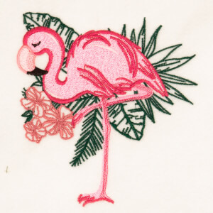 Stylized Flamingo Embroidery Design