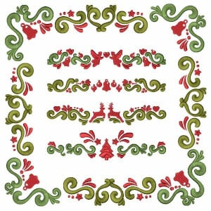 Christmas Corner and Barred Embroidery Design Pack