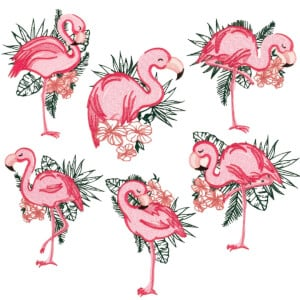 Stylized Flamingos Embroidery Design Pack