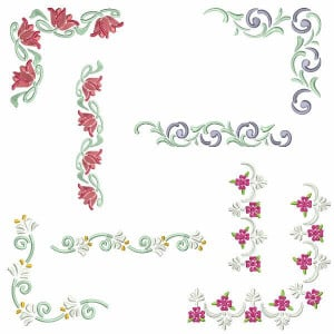 Corners and Barred Embroidery Design Pack