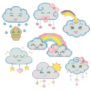Cross Stitch Clouds Embroidery Design Pack