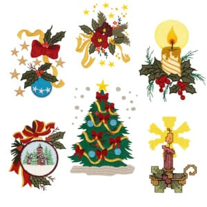 Classic Christmas Ornaments Embroidery Design Pack
