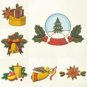 Christmas Ornaments Embroidery Design Pack'