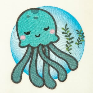 Jellyfish Under the Sea Embroidery Design