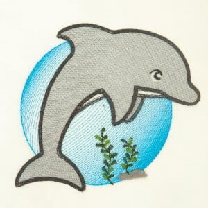 Dolphin Under the Sea Embroidery Design