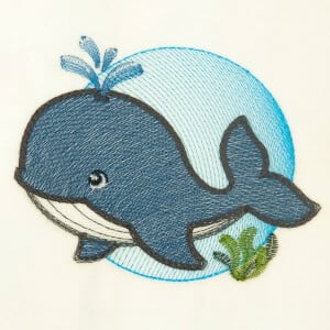 Whale Under the Sea Embroidery Design