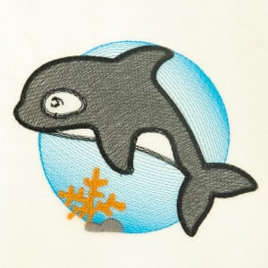 Orca Under the Sea Embroidery Design
