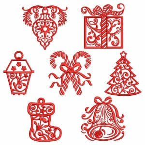 Christmas Decoration Embroidery Design Pack