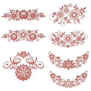 Flower Branches Embroidery Design Pack