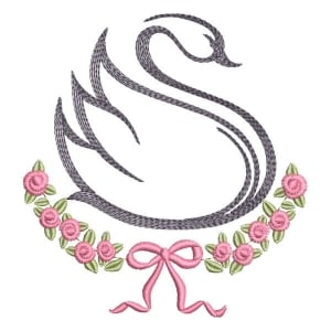 Swan with Flower Branch Embroidery Design