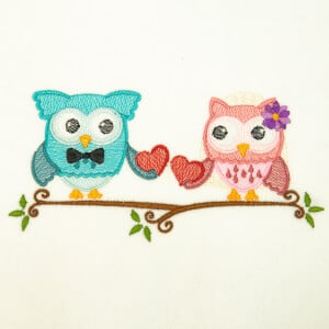 Romantic Owls Embroidery Design