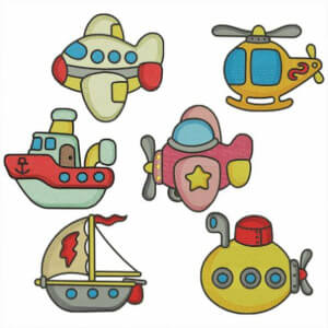 Vehicles for Children Embroidery Design Pack