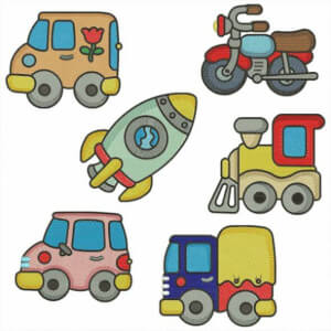 Vehicles for Childrens Embroidery Designs Pack