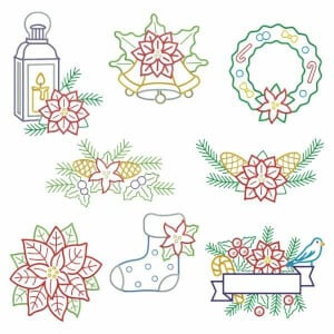 Christmas Ornaments Embroidery Design Pack (Contour)