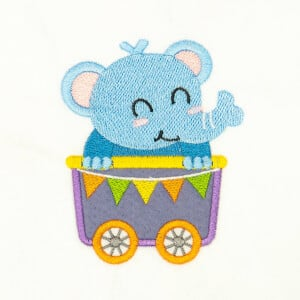 Elephant in the train (Applique) Embroidery Design