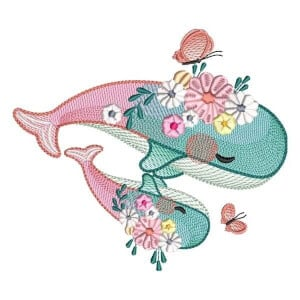 Stylized Whales (Quick Stitch) Embroidery Design