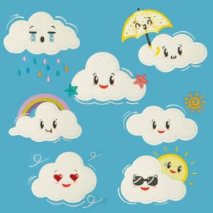Cute Clouds Embroidery Design Pack