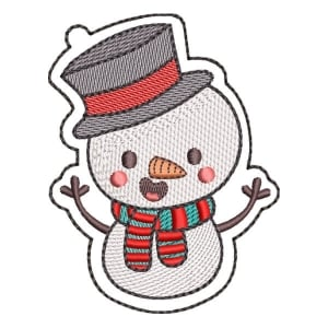 Christmas Snowman (Quick Stitch) Embroidery Design