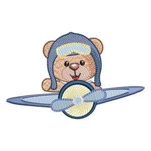 Aviator Teddy Bear (Quick Stitch) Embroidery Design