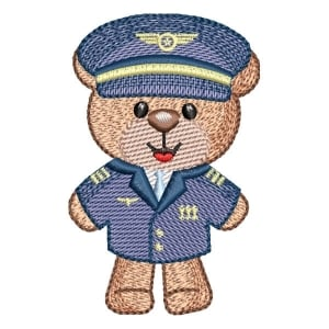 Pilot Teddy Bear (Quick Stitch) Embroidery Design