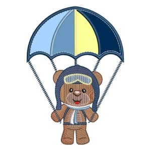 Aviator Teddy Bear (Applique) Embroidery Design